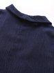 Navy Blue Paneled Long Sleeve Plain Coat