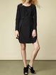 Black Paneled  Long Sleeve Crew Neck Plain Asymmetric Midi Dress