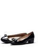 Black Summer Chunky Heel Leather Bowknot Heels