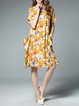 Floral Shorts Sleeve Pockets Midi Dress