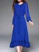 Royal Blue Crew Neck Vintage A-line Midi Dress