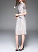 Gray Floral Short Sleeve Stand Collar Vintage Midi Dress