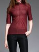 Half Sleeve Casual Cashmere Crew Neck Long Sleeved Top