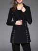 Black Elegant Lace Up Lapel Silk-blend Blazer