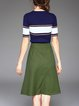 Cotton-blend Elegant Two Piece Half Sleeve Stripes Midi Dress