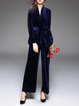 Blue Plain Velvet Surplice Neck Two Piece Elegant Jumpsuit With Belt