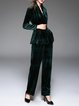 Velvet Two Piece Plain Elegant Long Sleeve Jumpsuit With Belt