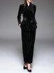 Black Velvet Two Piece Long Sleeve Jumpsuit With Belt