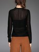Black Wool Blend Plain Knitted Casual Long Sleeved Top