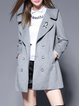 Casual Lapel Ribbed Long Sleeve A-line Coat