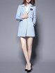 Long Sleeve Girly Paneled Lapel Plain Coat