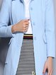 Sky Blue Plain Long Sleeve Shirt Collar Coat with Belt