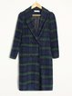 Green Checkered/Plaid Long Sleeve H-line Buttoned Coat