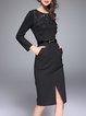 Black Appliqued Elegant Solid Cotton-blend Midi Dress with Belt