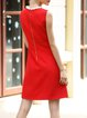 Elegant Crew Neck Beaded Cotton-blend Sleeveless Mini Dress