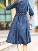 Blue A-line Casual Stand Collar Denim Midi Dress