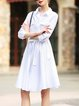 Solid A-line Cotton Long Sleeve Casual Shirt Dress