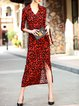 Red Sheath Lips Printed Surplice Neck 3/4 Sleeve Wrap Dress with Belt
