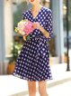 Navy Blue A-line Printed Girly Cotton-blend Wrap Dress with Belt