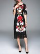 Half Sleeve Vintage Floral Embroidered Lace Midi Dress