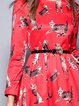 Red A-line Long Sleeve Printed Mini Dress with Belt