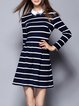 Dark Blue Long Sleeve Cotton-blend Stripes Mini Dress