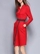 Elegant Cotton-blend Sheath Long Sleeve Stand Collar Midi Dress