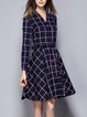 Simple Printed Cotton-blend Long Sleeve Plaid Shirt Dress