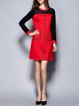 Red Color-block Crew Neck Cotton-blend Lace Paneled Simple Mini Dress