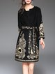 Embroidered Long Sleeve Wool Blend Floral Coat