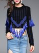 Casual Long Sleeve Beaded Fringed Cropped Top