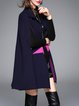 Dark Blue Simple Color Block Cape