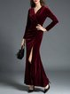 Velvet Elegant Ruched Sheath Evening Dress