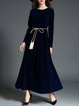 Royal Blue Swing Long Sleeve Evening Dress With Belt