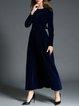 Royal Blue Swing Long Sleeve Evening Dress With Belt