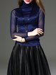 Royal Blue Cotton-blend Turtleneck Elegant Long Sleeved Top Necklace