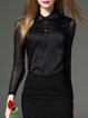 Black Long Sleeve Shirt Collar Cotton-blend Top