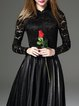 Black Stand Collar Paneled Lace Elegant Long Sleeved Top
