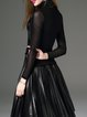 Black Elegant Mesh Paneled Turtleneck Sequnis Long Sleeved Top