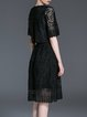 Black Crew Neck Plain A-line Frill Sleeve Midi Dress