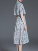 Light Blue Vintage Floral-print Stand Collar Midi Dress