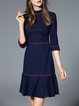 Navy Blue Flounce Elegant Cotton-blend Ruffled Mini Dress