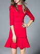 Red Elegant Cotton-blend Mini Dress