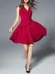 Red Sleeveless Swing Plain Ruffled Mini Dress