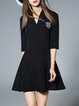 Basic Skater Stand Collar Half Sleeve Mini Dress