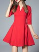 Plain Cotton-blend Half Sleeve Casual Mini Dress