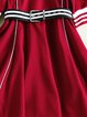 Burgundy Cotton-blend Half Sleeve Stripes Mini Dress