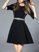 Black Casual Cotton-blend Mini Dress