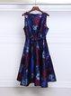 Red Bateau/boat Neck Floral Sleeveless Midi Dress