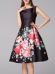 Floral Casual Sleeveless A-line Polyester Midi Dress